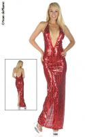 Plunging V Neck Sequin Gown